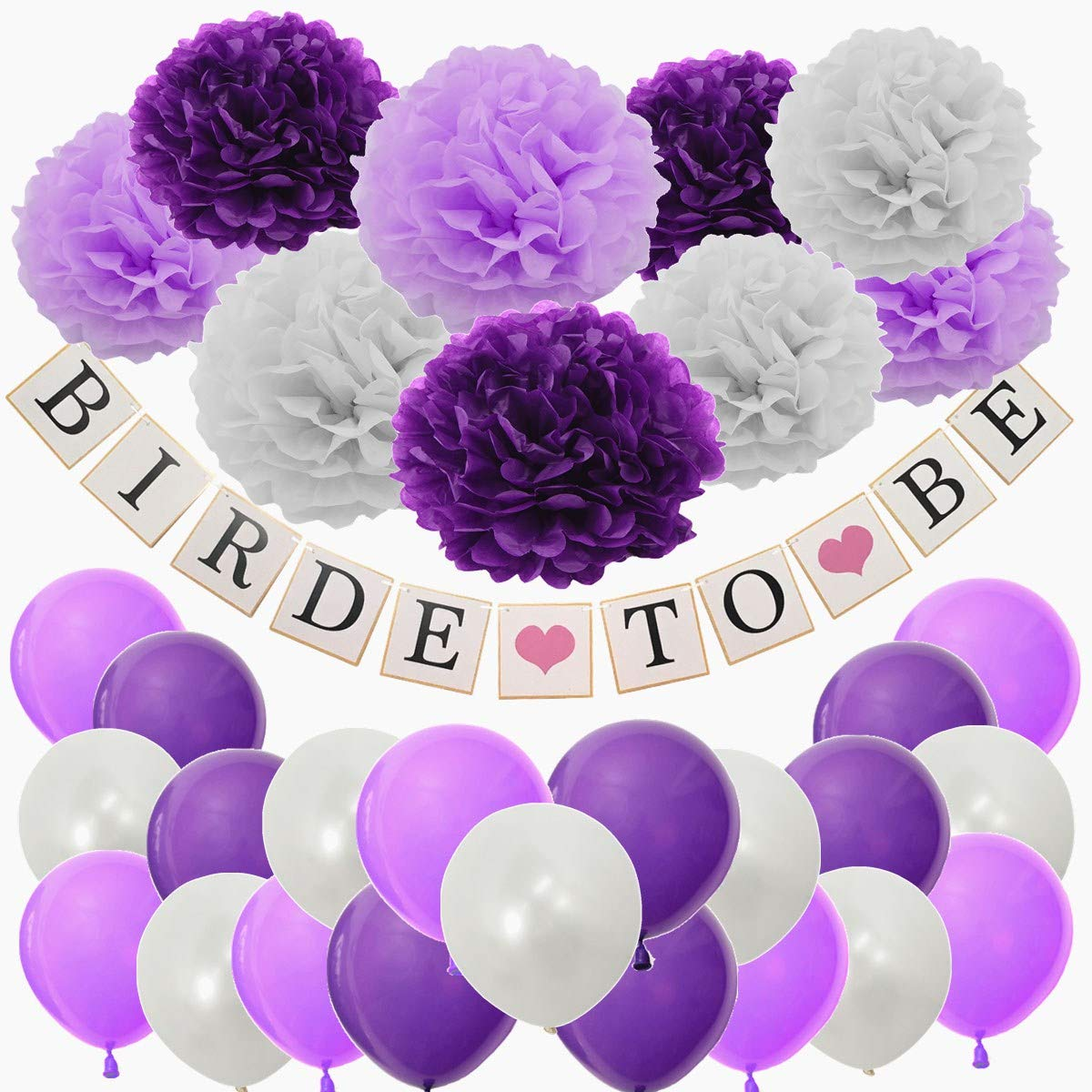 41PCS Purple Bride to BE Bridal Shower Bachelotte Party Decoration Set Wedding Decoration Supply Kit Bride to BE Banner 12 Latex Balloon Tissue Paper Pom Pom