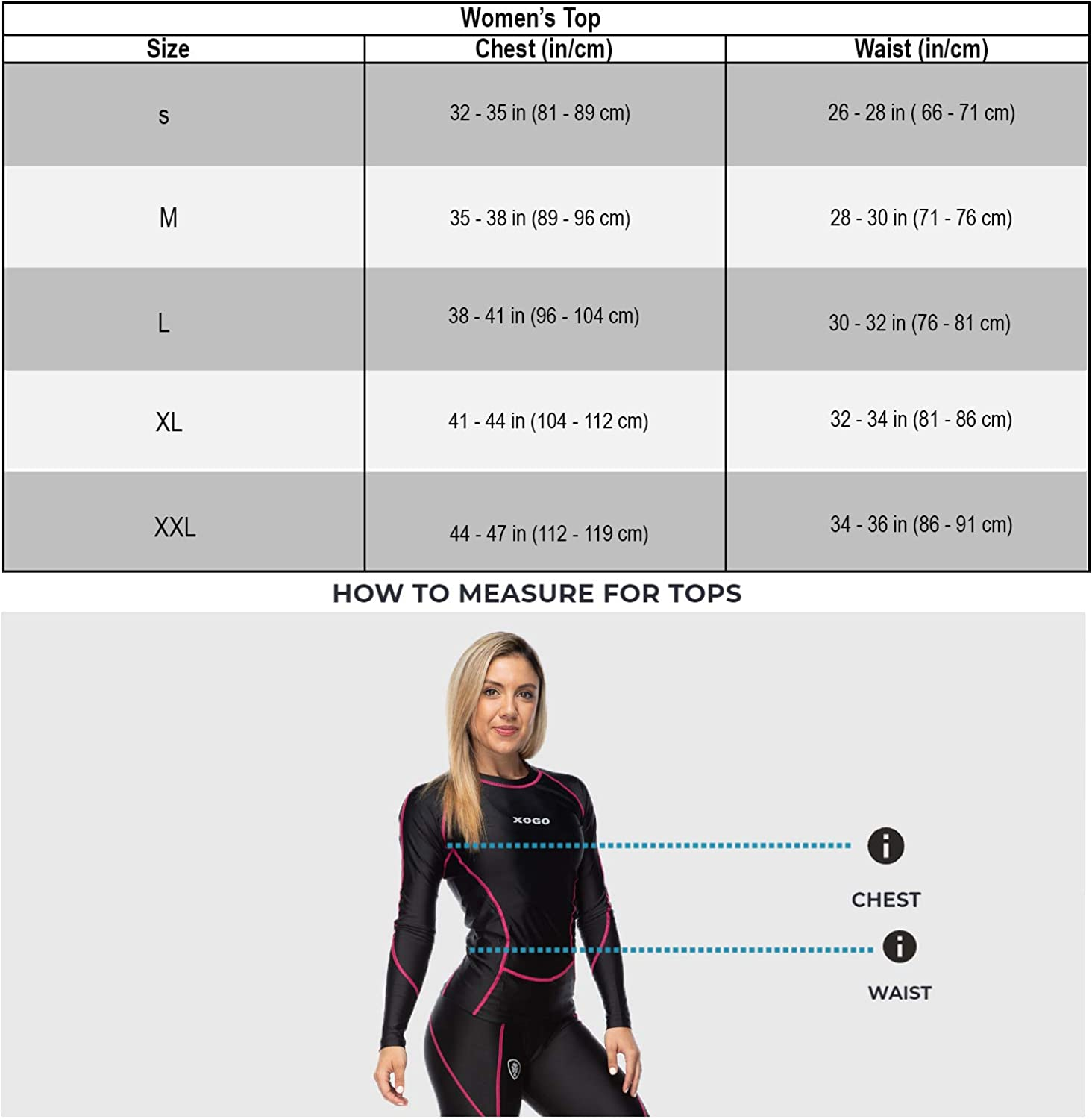 Long Sleeve Compression Tops for Women XOGO Womens Compression Top Base Layers for All Season UV Sun Protection and 4 Way Stretch Sports Shirts for Running Cycling and Yoga