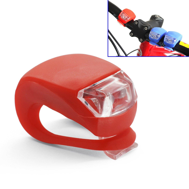 Grenhaven – set di 2 Luci LED con custodia in silicone, per passeggini, bicicletta, Bike light, Bici Faretto con durata e luce lampeggiante, Campeggio, Escursioni, Jogging, Bambini – colore: ROSSO/BIANCO Bambini - colore: ROSSO/BIANCO 5641