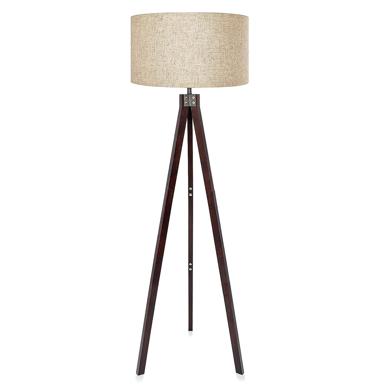 LEPOWER Wood Tripod Floor Lamp, Standing Reading Light for Living Room, Bedroom, Study Room and Office, Modern Design, Flaxen Lamp Shade with E26 Lamp Base (Black Walnut)