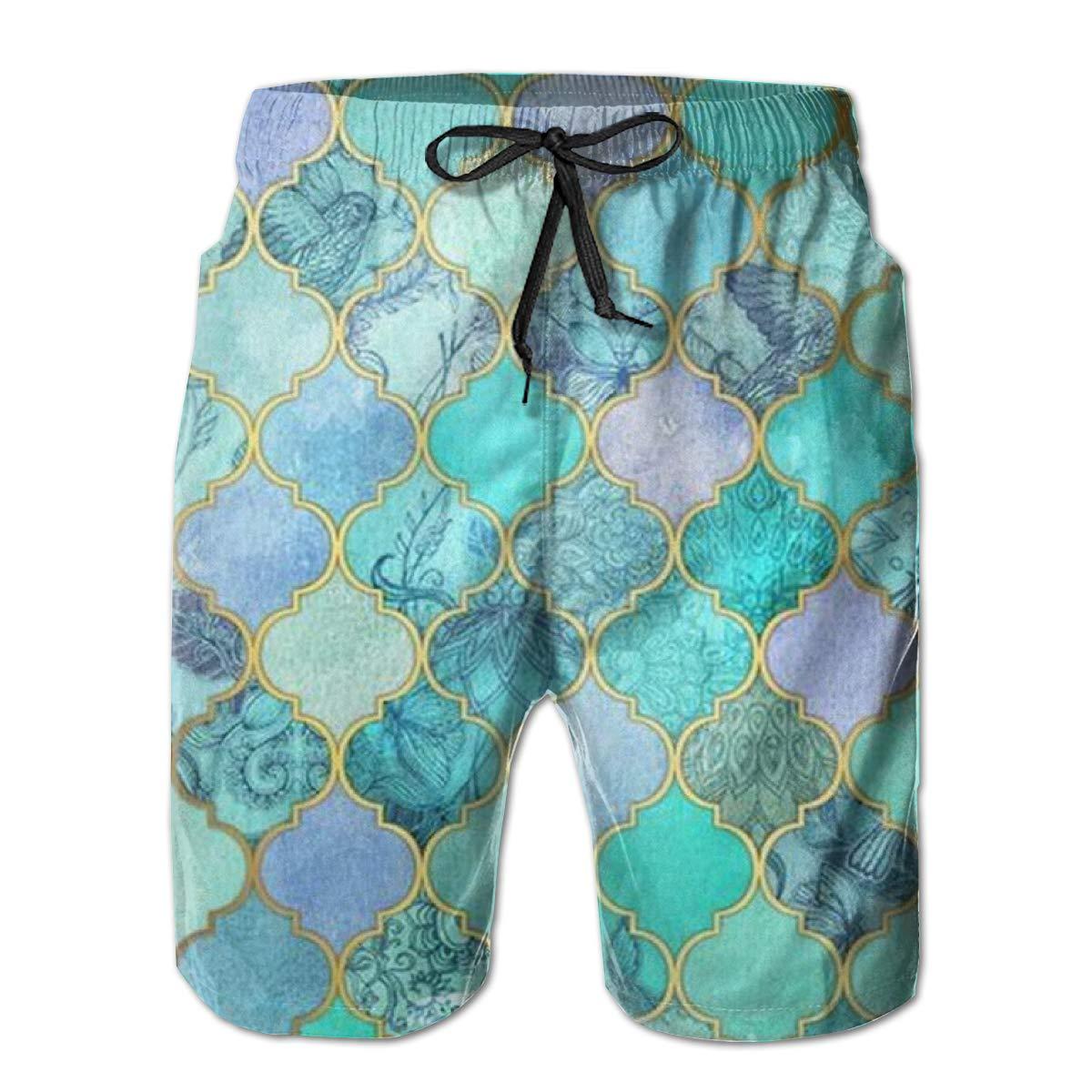 Mens Green Mermaid Fish Scales Swim Trunks Beach Board Shorts