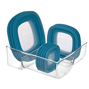 """iDesign Plastic Kitchen Binz Food Container Lid Storage Organizer for Cabinet, Pantry, Countertop, 11.49"""" x 10.92"""" x 4.12"""", Clear"""