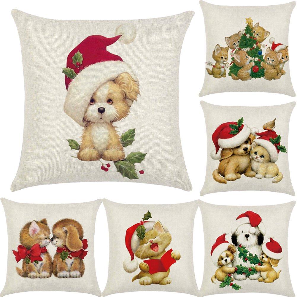 Zerlar - Copricuscino vintage in lino per divano, casa, auto, e decorazioni natalizie