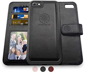 Shields Up iPhone 6S Case/iPhone 6 Case, [Detachable] Magnetic Wallet Case, Durable and Slim, Lightweight with Card/Cash Slots, Wrist Strap, [Vegan Leather] Cover for Apple iPhone 6S/6 -Black
