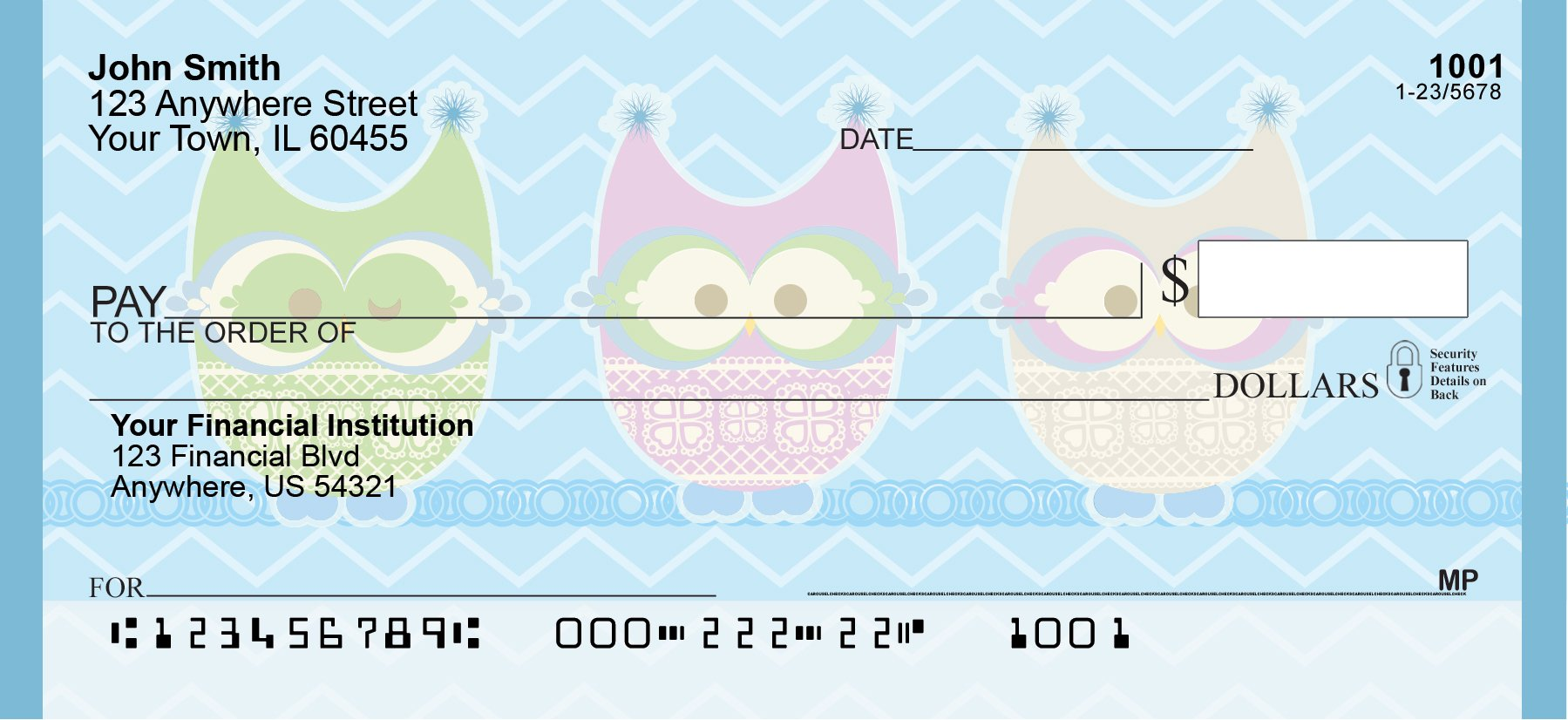 Give a Hoot Personal Checks (1 Box Singles) by Carousel Checks Inc. (Image #1)