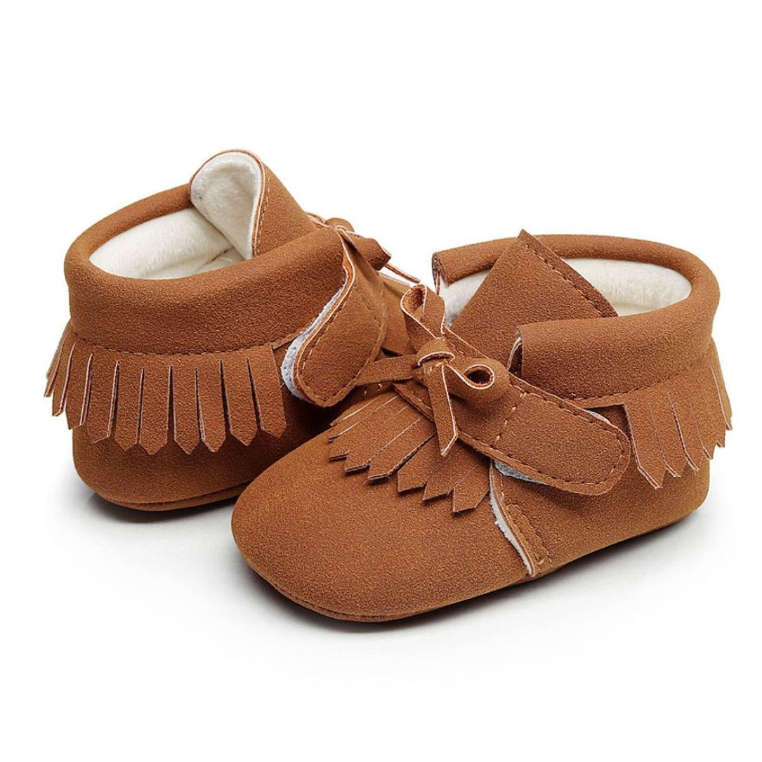 Voberry Baby Boys Girls Soft Soled Tassel Bowknots Crib Shoes PU Moccasins