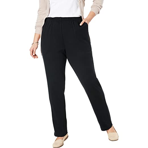 479d2849226ca Woman Within Women's Plus Size 7-Day Knit Straight Leg Pant at ...