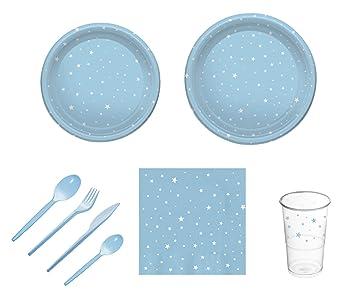 Pack para fiesta infantil o cumpleaños con diseño de estrellas - Color Azul - Set de vajilla de plástico para 12 personas - 120 piezas