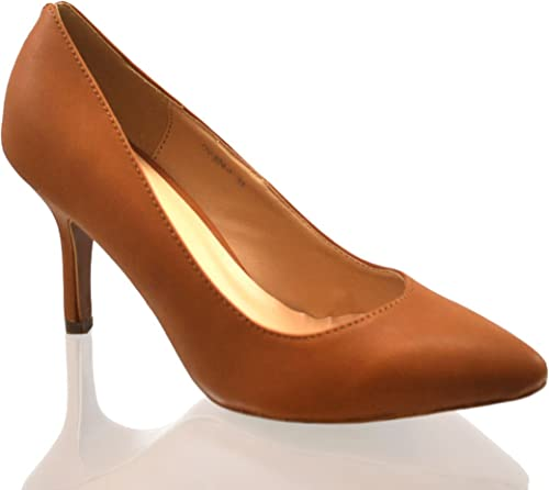 Ladies Womens Tan Faux Leather Court