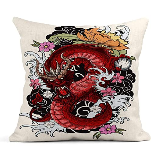 Kinhevao Cojín Rojo Japón Dragón Tatuaje Libro para Colorear ...