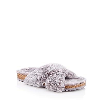 f0d11e5c2 Lounge & Sleep Womens Grey Faux-Fur Cross Strap Slider Slippers 3 ...