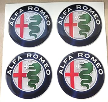 GTBTuning - 4 adhesivos Alfa Romeo 50 mm, de colores, tuning, efecto 3D