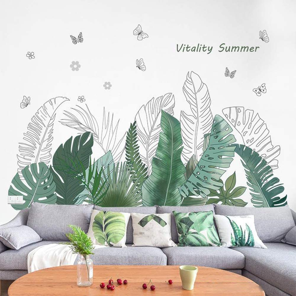 Green Banana Leaf Tropical Plants Jungle Wall Stickers, Peel and Stick Palm Tree Plant Monstera Leaves Wall Decals, DIY Wall Art Decor Home Decorations Wallpaper for Living Room Bedroom(C)