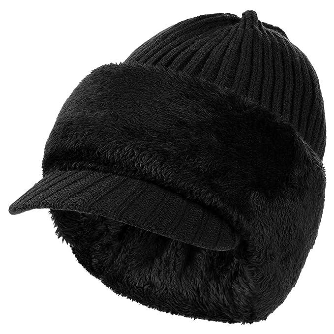 VBIGER Sombrero de Invierno Cálido Gorro de Punto Grueso Gorro con Visera  de Doble Uso con cba370b2892