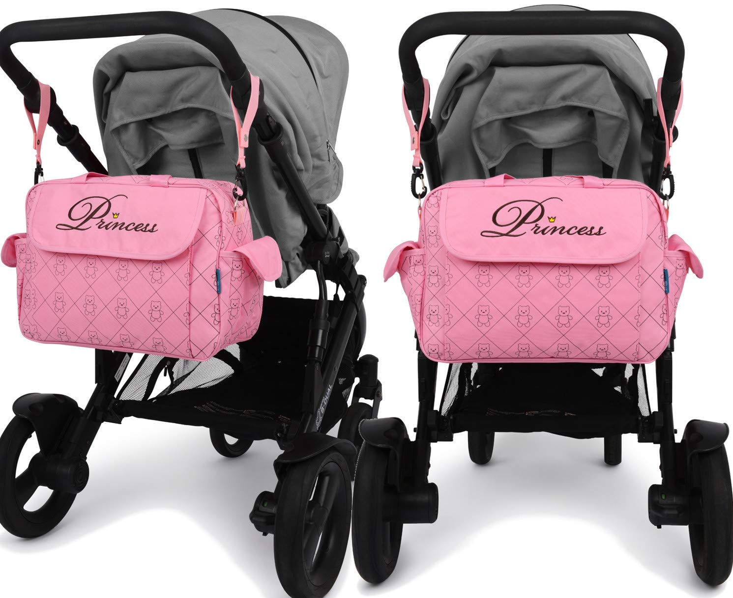 Water proof inside and out Baby shower Gift NEW 2018 Design 6 piece Nappy Diaper Baby Princess Prince Changing Hospital Bag with Insulated pocket padded changing mat buggy clips