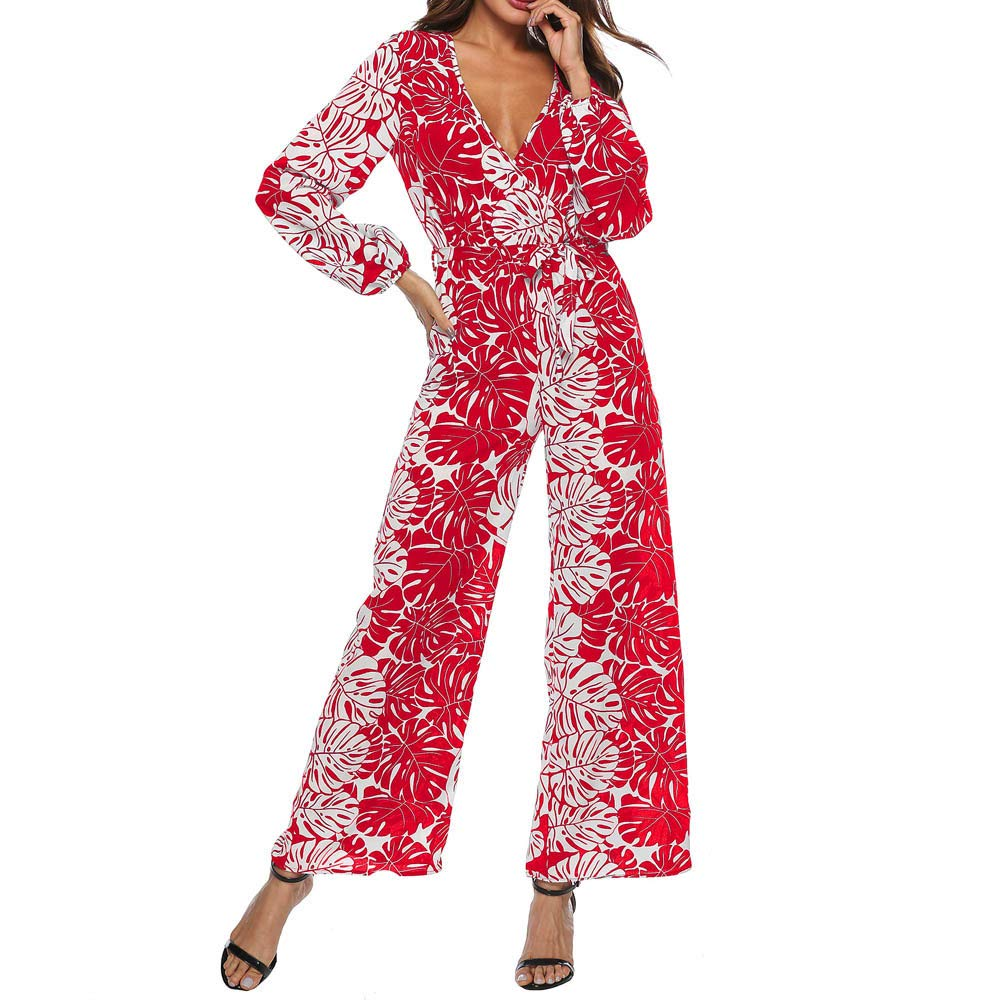 Jumpsuits for Women Flora Print Overalls Long Sleeves Rompers Casual Playsuits Ladies Loose Pants