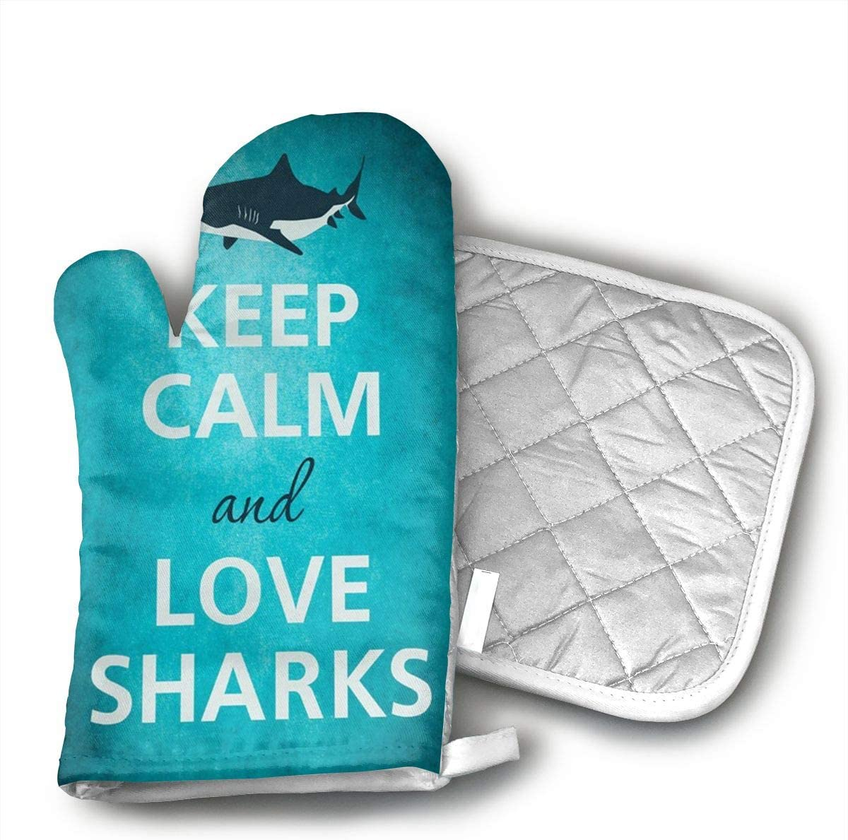 UYRHFS Keep Calm and Love Sharks Great White Oven Mitts and Pot Holder Kitchen Set with, Heat Resistant, Oven Gloves and Pot Holders 2pcs Set for BBQ Cooking Baking
