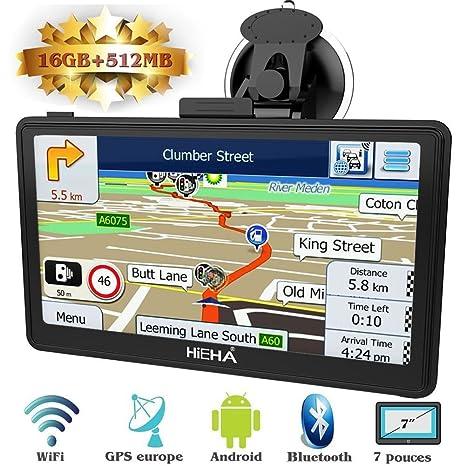 Hieha GPS Navegador WIFI para Coche y Camión Pantalla Capacitiva de 7 Pulgadas Navegación Europeo Asistente