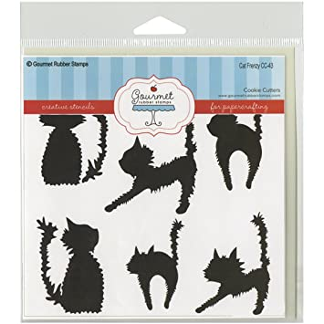 Gourmet Rubber Stamps Cat Frenzy Stencil 6 x 6 GRS-ST-CC43