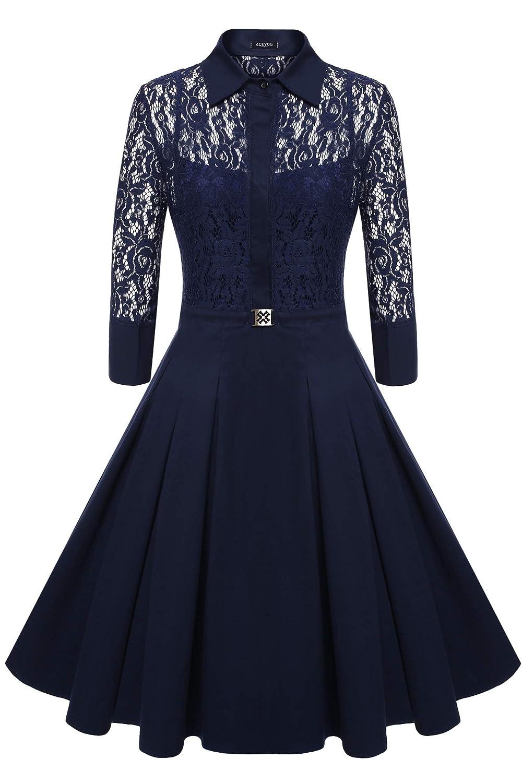 ACEVOG Women's Vintage 1950s Style 3/4 Sleeve Lace Flare A-line Dress