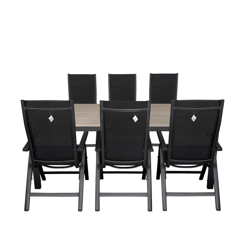 7tlg. Gartengarnitur Aluminium 6-Positionen Hochlehner Polywood Gartentisch Sitzgruppe 205x90cm Terrassenmöbel Silbergrau / Schwarz
