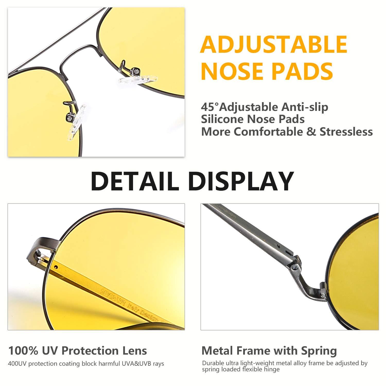 Protezione 100/% UVA UVB Myiaur Occhiali da Sole Lenti Gialli HD Polarizzate per Guida Notturna Antiriflesso