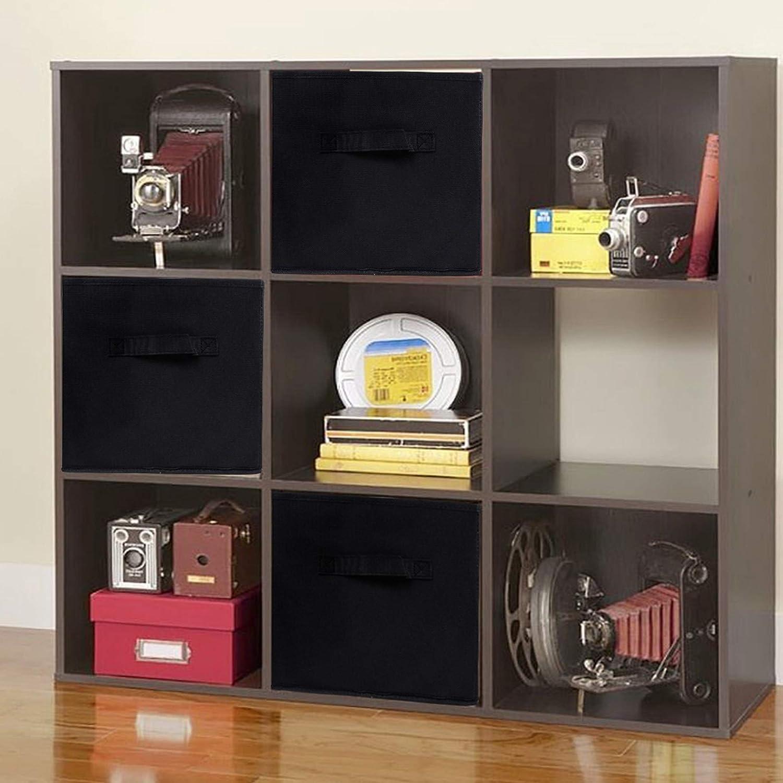 Rebecca SRL Juego de 6 Cajas de Almacenamiento Cubo Negro Resistente Lavable Armario Baño Dormitorio (Cod. RE4724): Amazon.es: Hogar