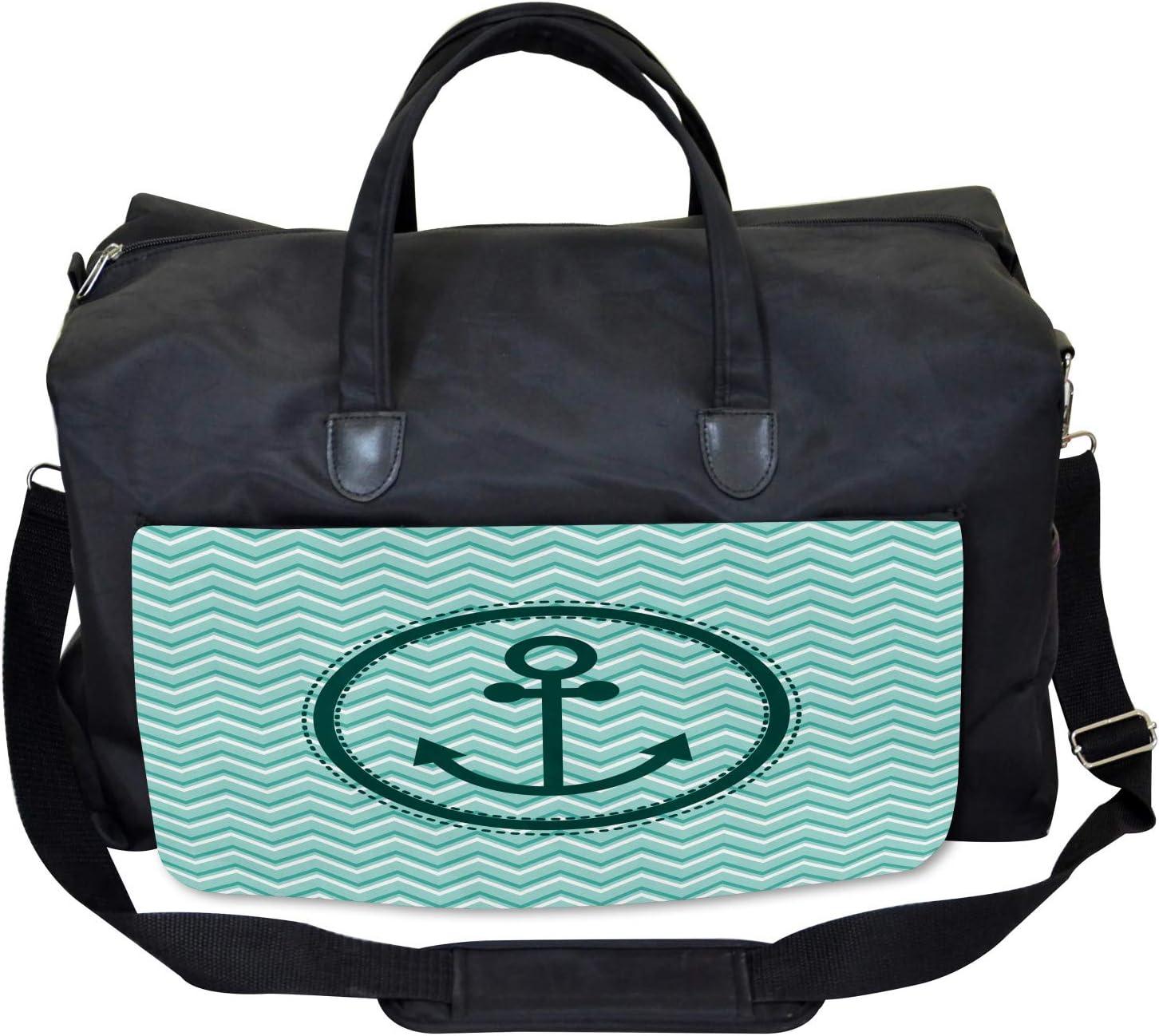 Large Weekender Carry-on Zig Zag Pattern Ambesonne Black White Gym Bag