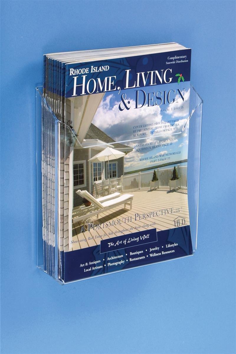 Displays2go 8.5'' Wall Mounting Catalog Rack Magazine Holder, Set of 30, Clear Acrylic (LHWM85)
