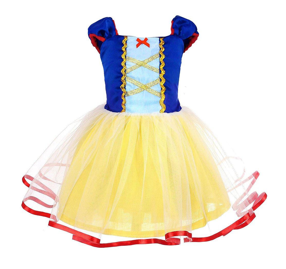 AmzBarley Princess Snow White Costume Girls Dress Kids Party Birthday Clothes 1-4Y G029-CA