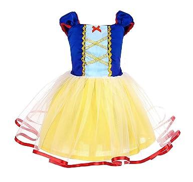 AmzBarley Disfraz Vestido Princesa Blancanieves Elsa Niña Tutu Ceremonia,Traje Niña,Disfraz Infantil Fiesta Carnaval Cosplay Halloween
