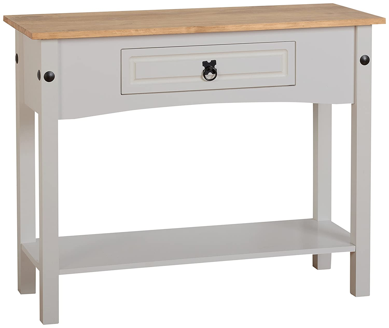 Seconique Corona 1 Drawer Console Table with Shelf, Wood, Grey/Distressed Waxed Pine, 439.95x1019.95x114.95 cm 300-304-009