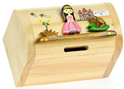Namesakes Childrens Money Box Piggy Bank For Kids Adults Cute Princess With Secret Lock Wooden Toy For Girls Size 12 X 9 X 7cm