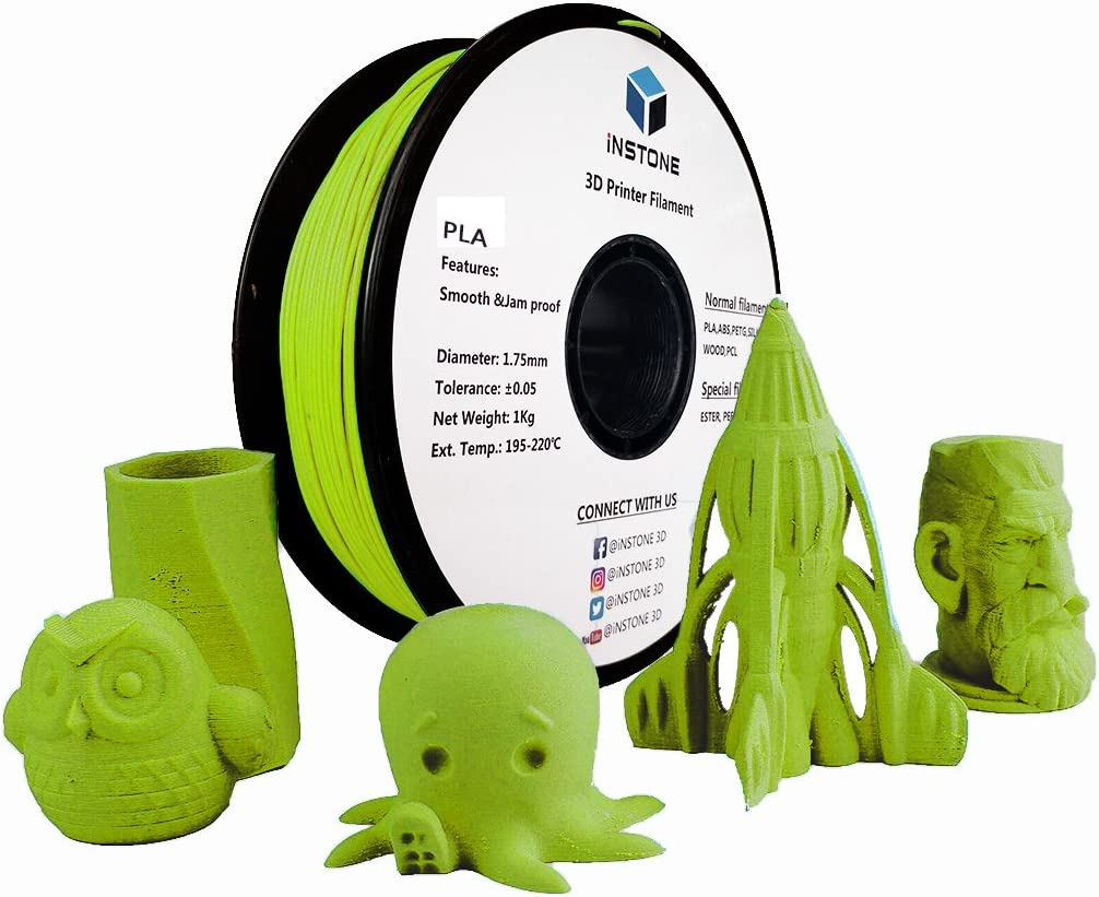 Instone 3d pla filamento 1.75 mm para 3d impresora, 1 kg bobina ...