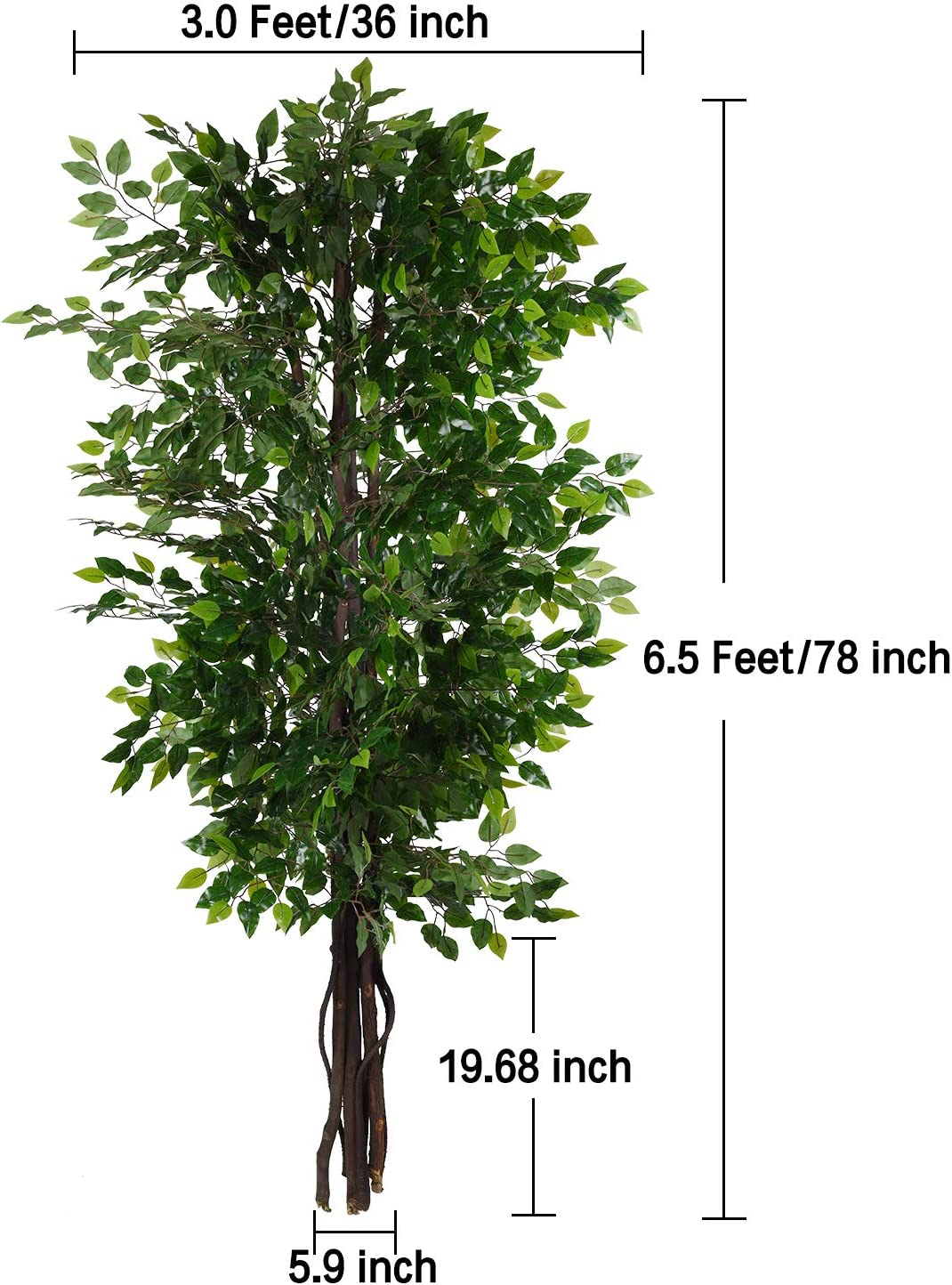 Woooow 6.5-Feet Ficus Silk Tree,Artificial Tree Ficus Tree with Green Leaves and Natural Trunk Pot not Include Beautiful Fake Plant for Living Room Balcony Corner Decor,Indoor-Outdoor Use