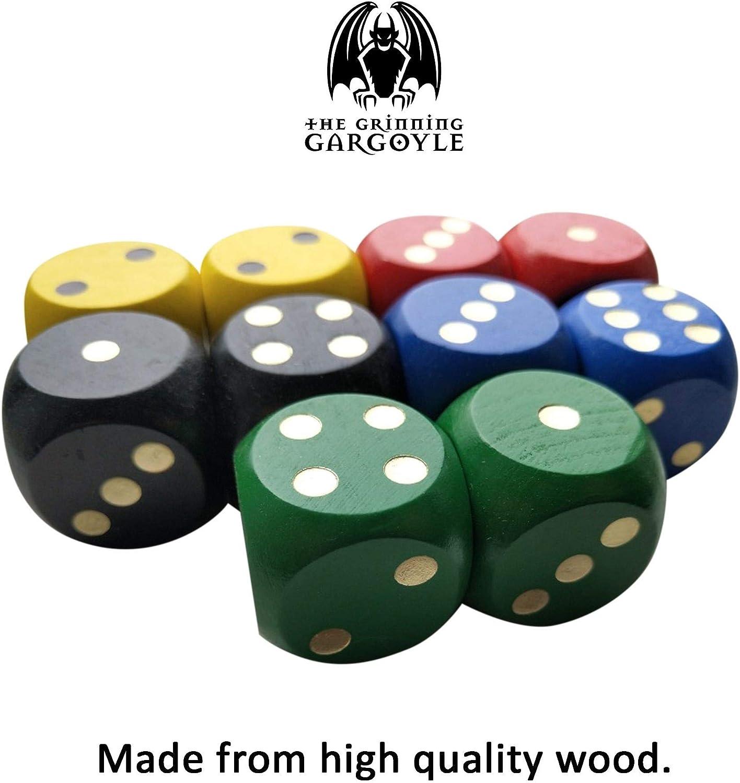 Juego de dados de madera grande con bordes redondeados D/&D G/árgola sonriente WCN-9001 10 piezas multicolores con bolsa de dados juegos de rol Ideal para juegos educativos de matem/áticas