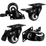 "2"" Swivel Caster Wheels,UVCE Fixed Caster Wheels with Safety Dual Locking and Heavy Duty 150LBS Per Caster,360 Degree Rotate No Noise Swivel Plate Brake Castors Sets of 4"