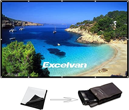 120 Inch 16:9 Portable Projector Screen High Contrast Collapsible PVC HD 4K Design Hanging Hole Grommets Front Projection Home Indoor Outdoor Movie ...