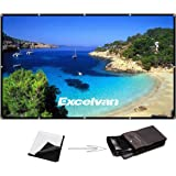 Excelvan 150 Inch 16:9 Projector Screen High Contrast Collapsible PVC Front Projection Design with Hanging Hole Grommets for Portable Home Indoor Outdoor Movie Match Party