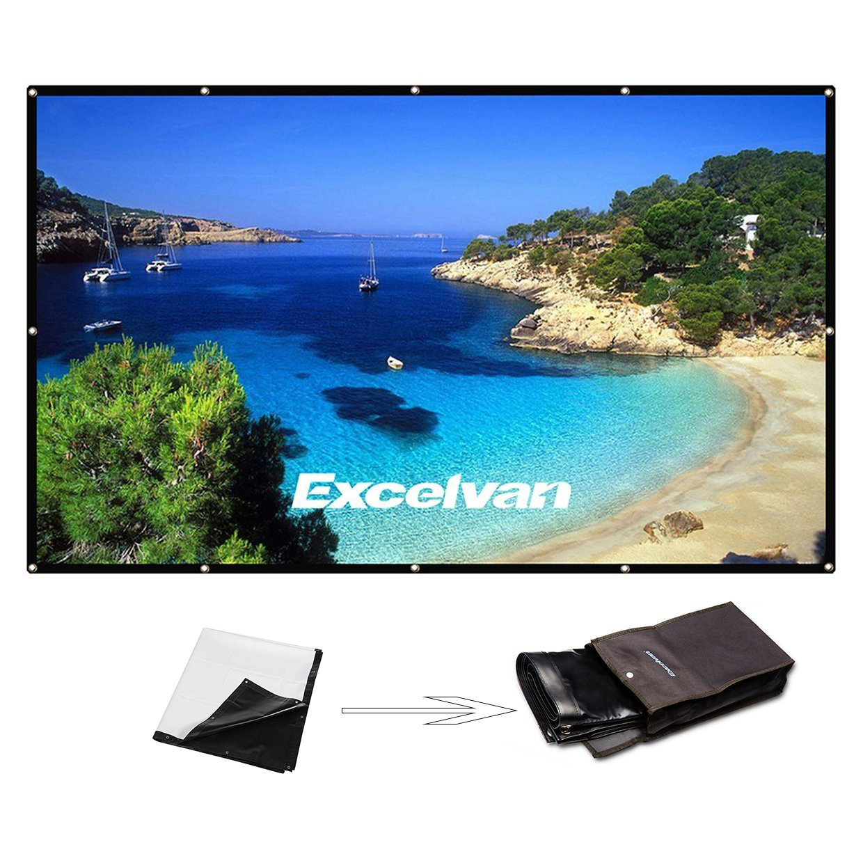 Excelvan 150 Inch 16:9 Projector Screen High Contrast Collapsible PVC Front Projection Design with Hanging Hole Grommets for Portable Home Indoor Outdoor Movie Match Party 170526-M6