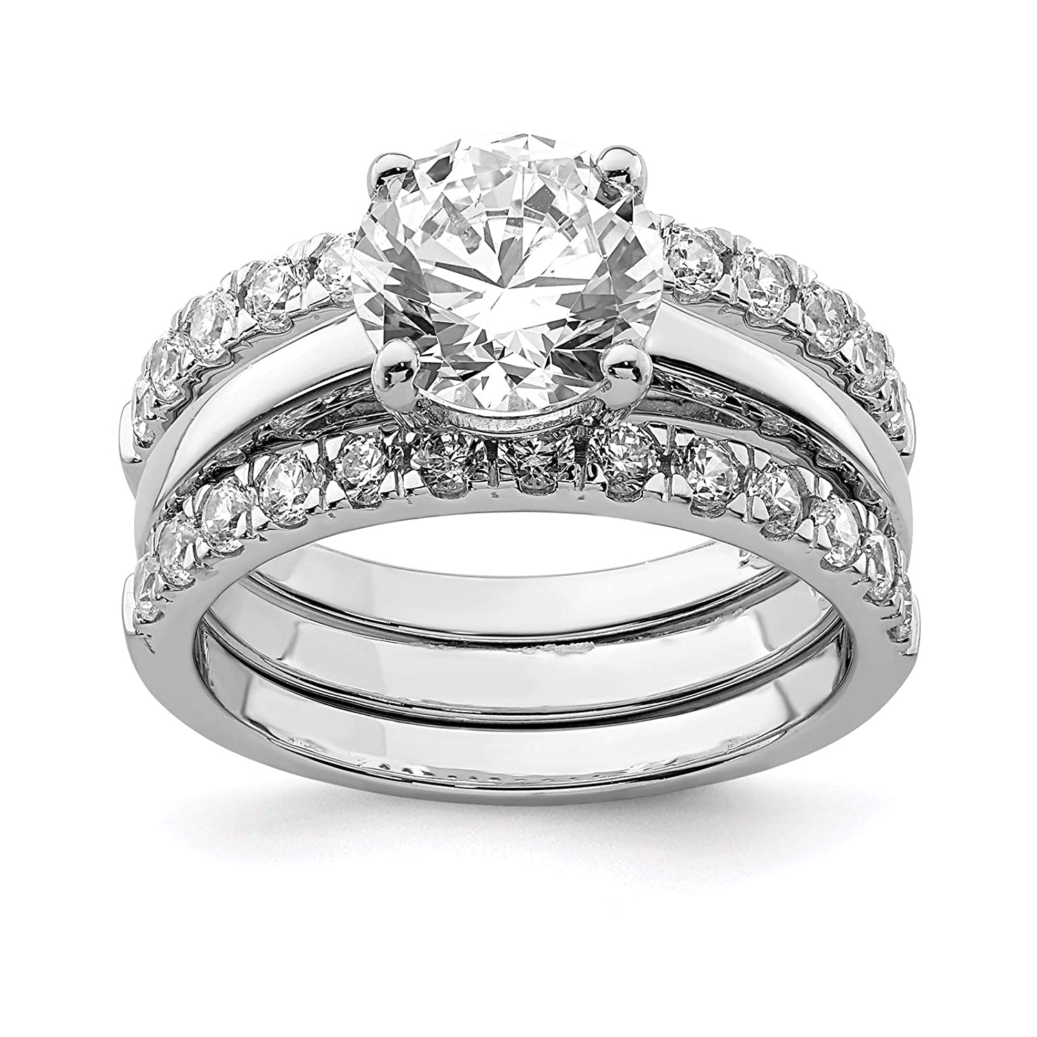 925 Sterling Silver Rhodium-plated Polished 8mm CZ Bridal Engagement Ring 3 Piece Set Size 6-8