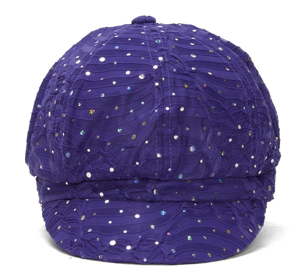 TOP HEADWEAR Women's Glitter Sequin Trim Newsboy Style Relaxed Fit Hat Cap - Purple