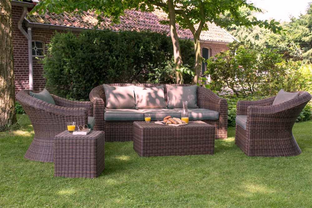 Lounge-Set, Loungeset, Loungemöbel, Gartenloungemöbel, Loungegarnitur, Gartenmöbelset, Rattanlounge, Poly-rattan, braun