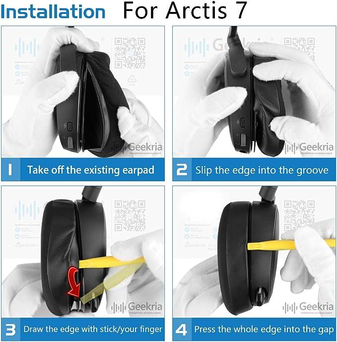 Geekria Sport Cooling Gel-Infused Cloth Almohadillas de Repuesto para Auriculares SteelSeries Arctis 3 Arctis 5 Arctis 7 Arctis 9X Arctis Pro ...