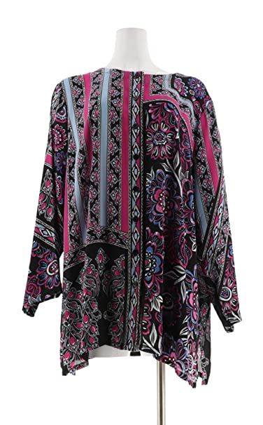 Bob Mackie Placement Print Button Front Woven Tunic A302148 At