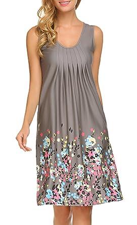 236e8ac442 Women s Casual Summer Floral Racerback Tank Midi Dresses Juniors Clothing  Grey S