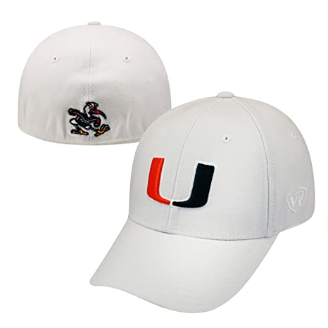 new product 01c24 56dd3 Amazon.com   Top of the World NCAA-ACC Conference-Premium Collection-OneFit-Memory  Fit- Size  L XL-Miami Hurricanes-White   Sports   Outdoors