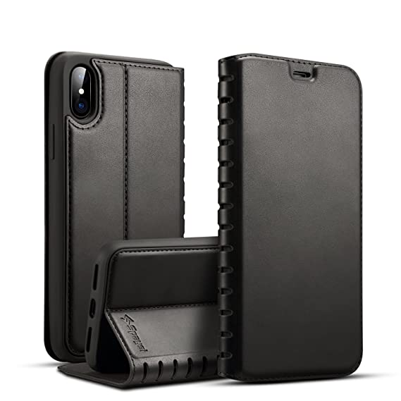 detailed look 53ebd 71546 iPhone X Folio Flip Case Magnetic Closure Spaysi iPhone X Leather Case Slim  iPhone X Wallet Case Wireless Charging Book Style Kickstand Credit Card ...