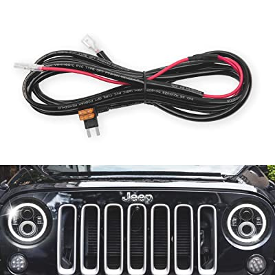 GoodRun 1PCS Jeep Wranglert headlights Halo DRL Harness - Headlight DRL Angel Eyes Halo Ring Extension Wiring Harness, Fit Jeep Wrangler JK TJ or Trucks Car Leds Headlights Bulbs, 2.05M: Automotive