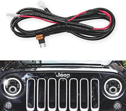 GoodRun 1PCS Jeep Wranglert headlights Halo DRL Harness - Headlight on jeep tj headlight bulb, jeep tj headlight relay, jeep tj headlight conversion kit,